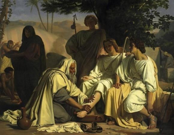 Abraham and Sarah at Mamre - artwork by Felix Fossey ( 1826-1895)