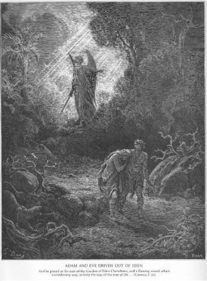 Adam and Eve are driven out of Eden (art work by Gustave Dore)